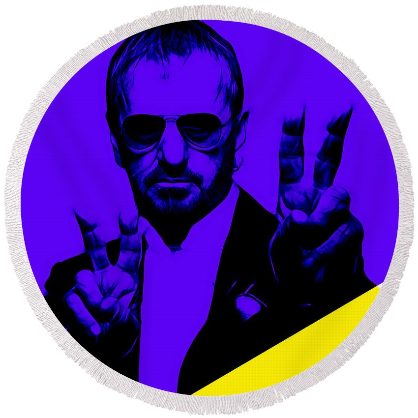 Ringo Starr Round Beach Towel featuring the mixed media Ringo Starr Collection by Marvin Blaine