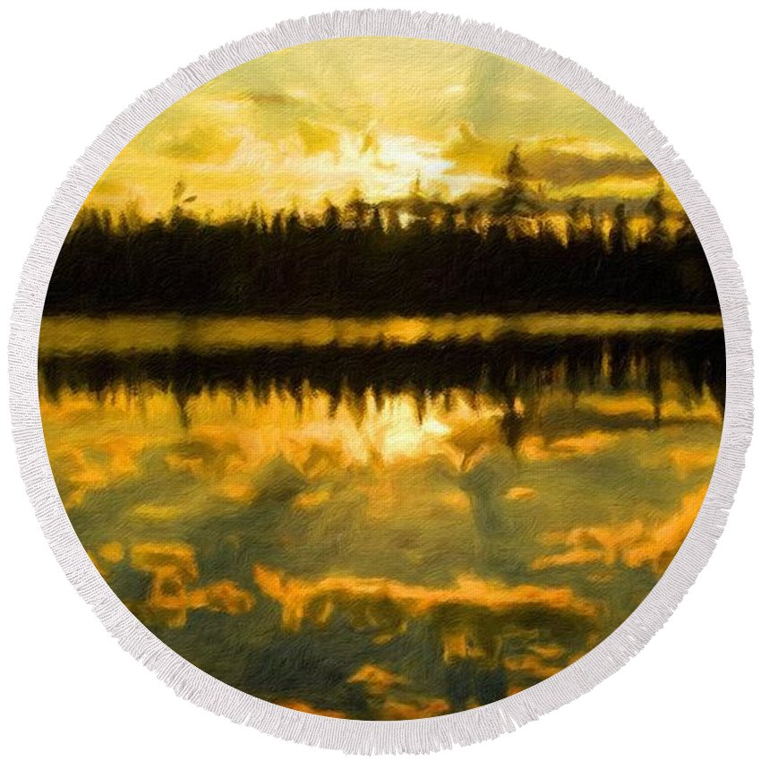 Landscape Round Beach Towel featuring the painting Nature Landscape Light by World Map