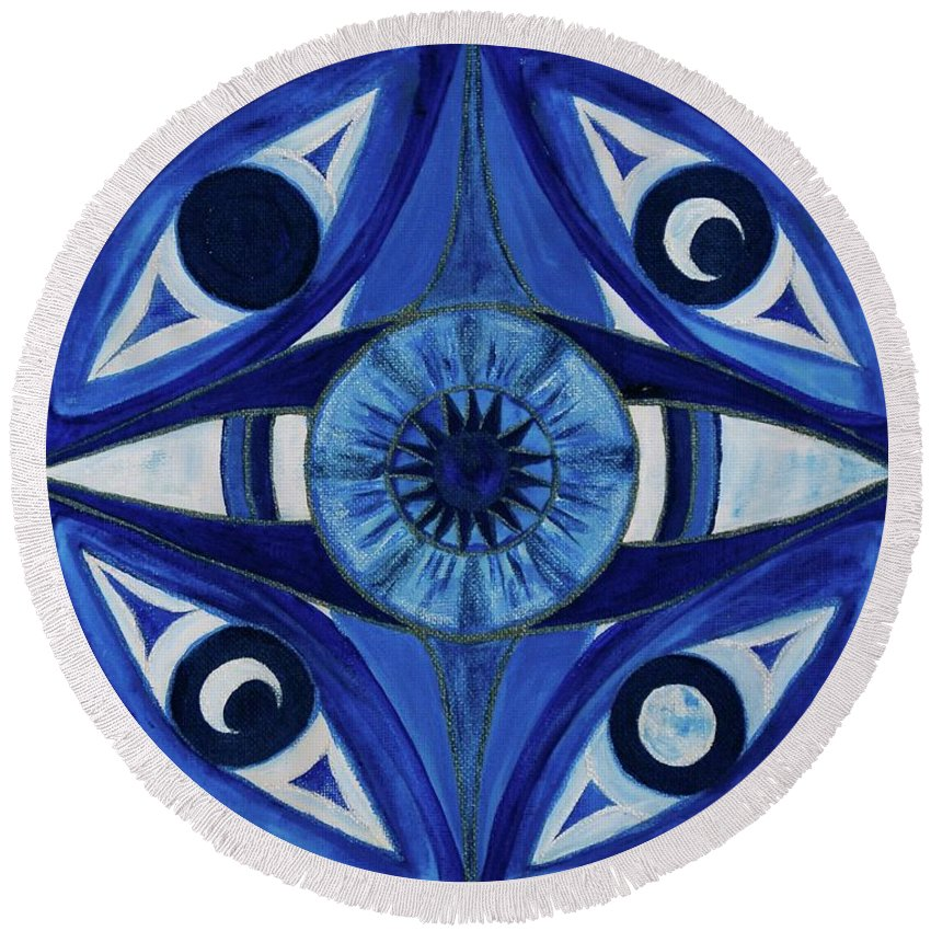 Mandala Round Beach Towel featuring the painting 6th Mandala - Third Eye Chakra by Jennifer Christenson