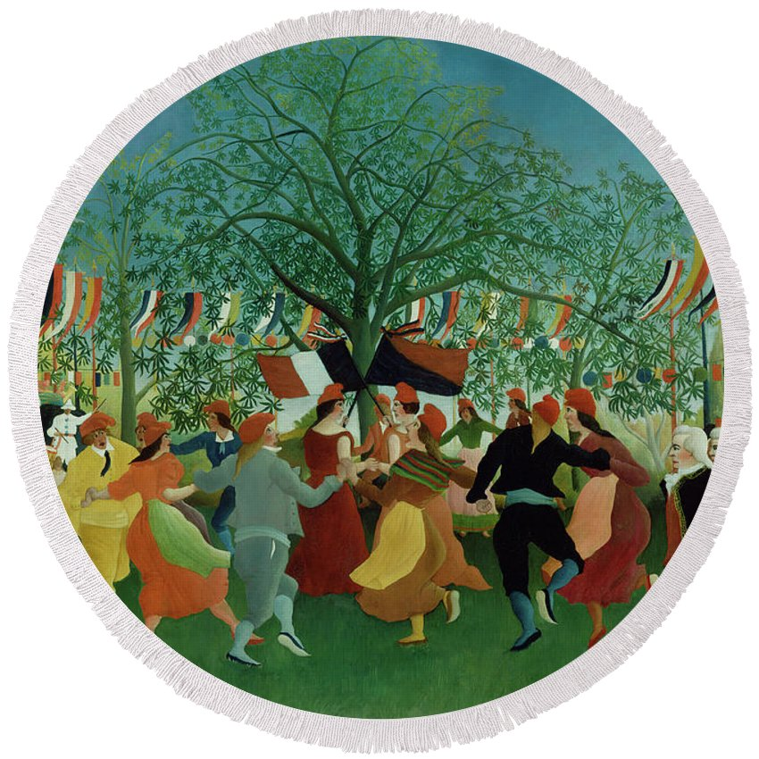 Henri Rousseau (french Round Beach Towel featuring the painting A Centennial Of Independence by Henri Rousseau
