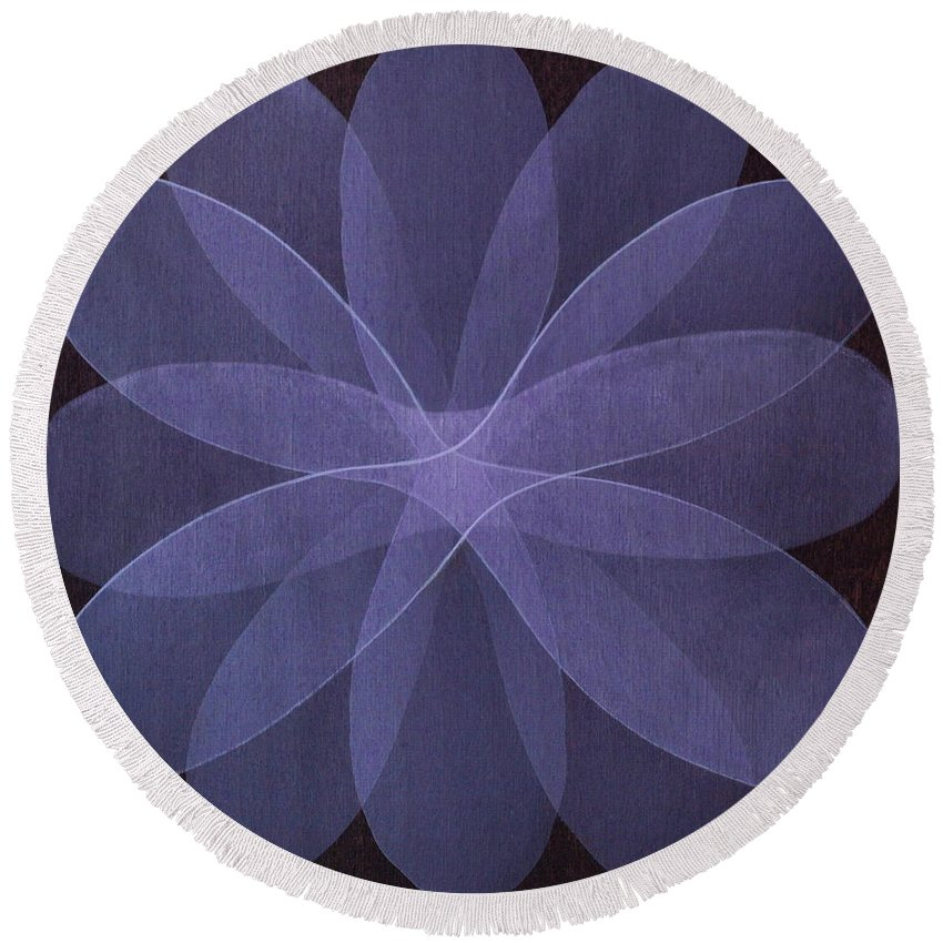 Abstract Round Beach Towel featuring the painting Abstract flower by Jitka Anlaufova