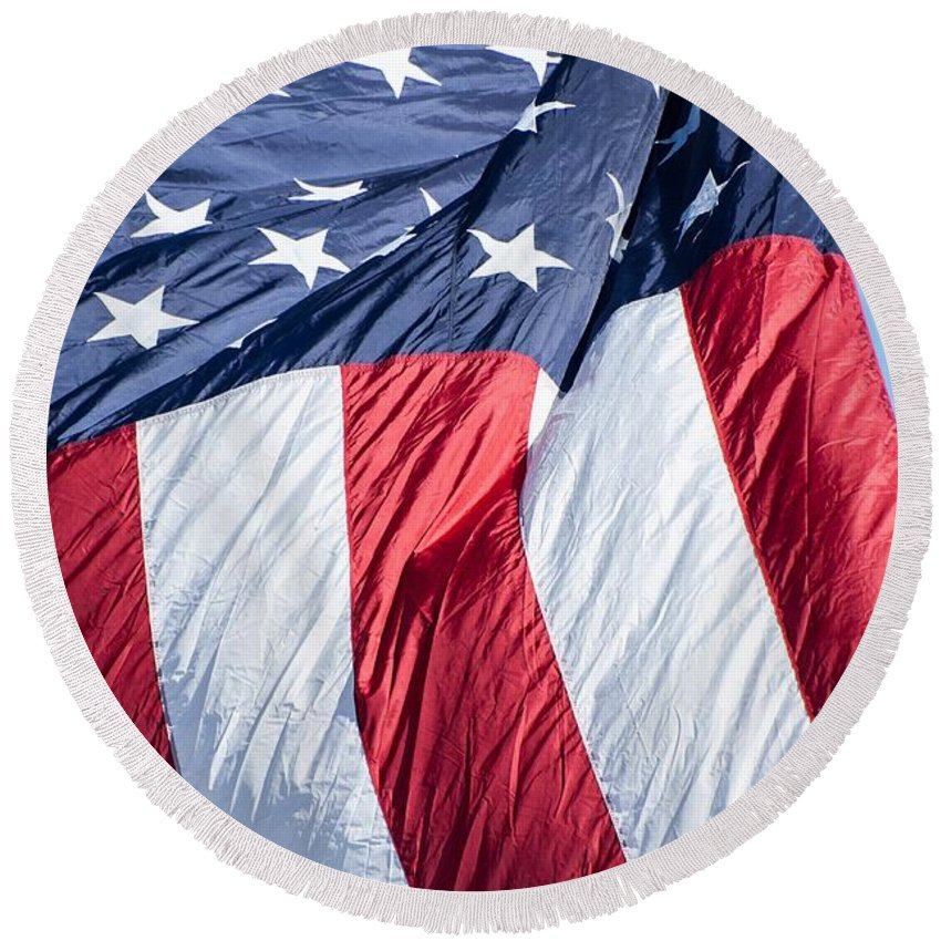 Flag Round Beach Towel featuring the photograph American Flag by FL collection