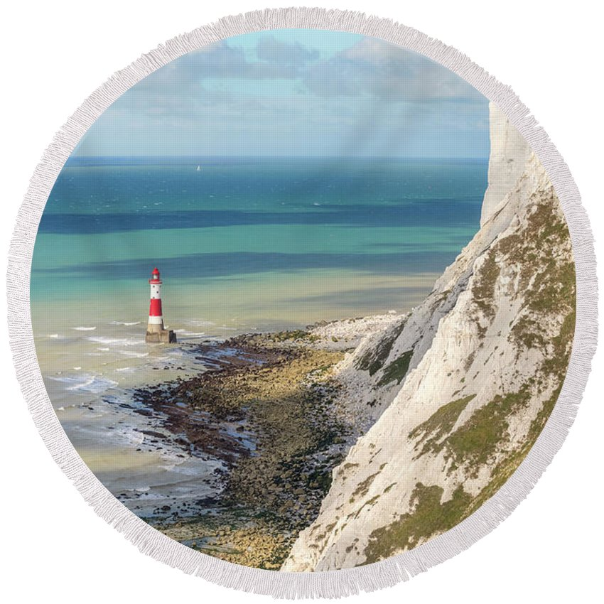 Beachy Head Round Beach Towel featuring the photograph Beachy Head - England by Joana Kruse