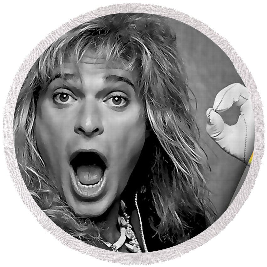 David Lee Roth Round Beach Towel featuring the mixed media David Lee Roth Collection by Marvin Blaine