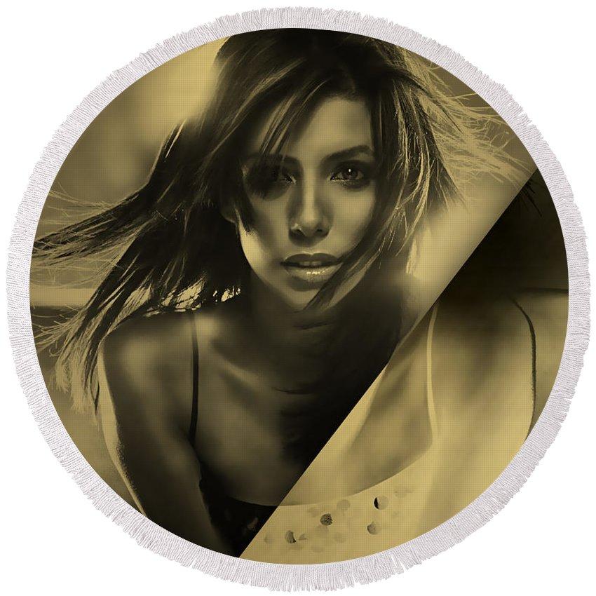 Eva Longoria Round Beach Towel featuring the mixed media Eva Longoria Collection by Marvin Blaine