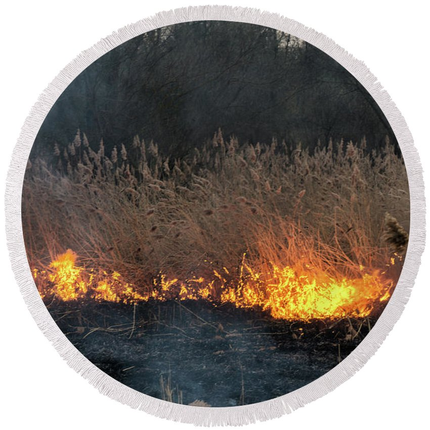 Nature Round Beach Towel featuring the photograph Fires Sunset Landscape by Oleksandr Masnyi