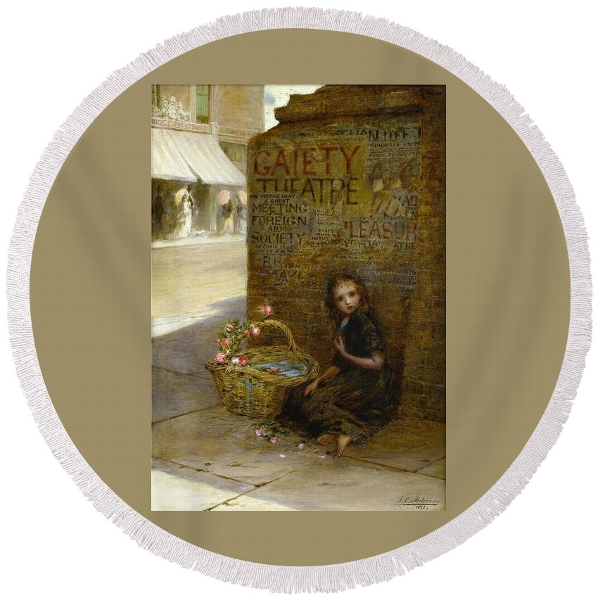 Augustus Edwin Mulready - Flower Girl Round Beach Towel featuring the painting Flower Girl by MotionAge Designs