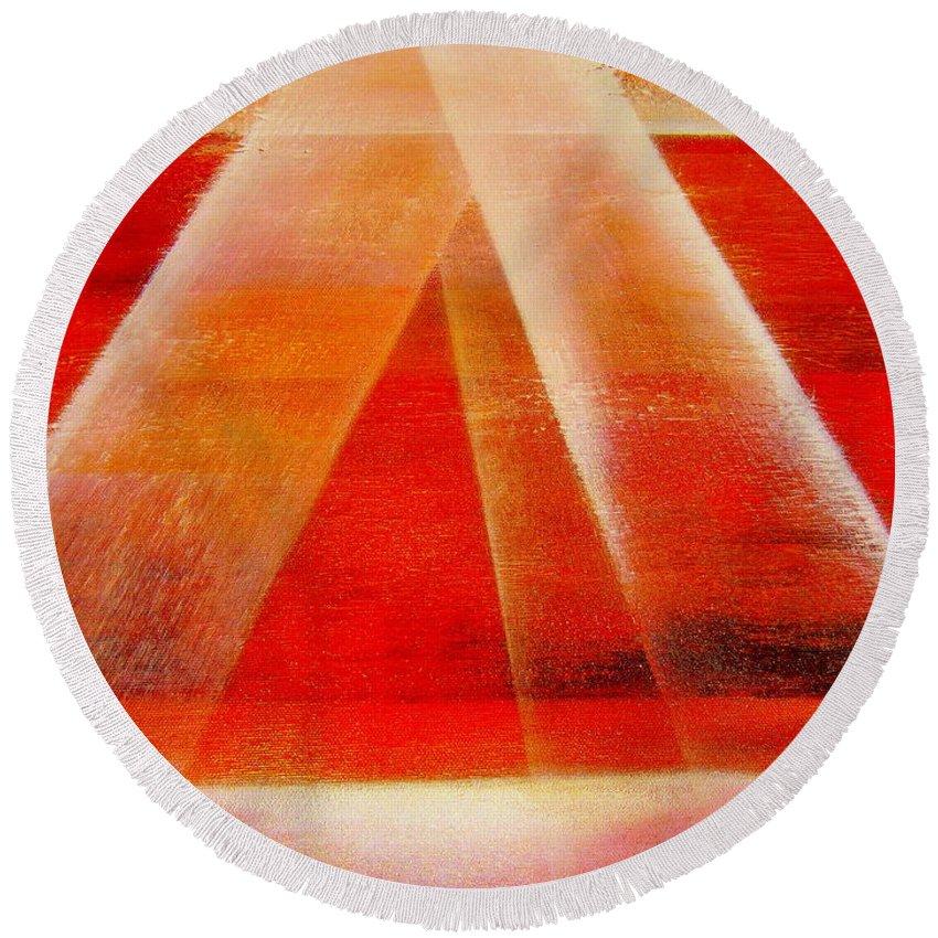 Hope.hapiness.light.sunrise Round Beach Towel featuring the painting Hope by Kumiko Mayer