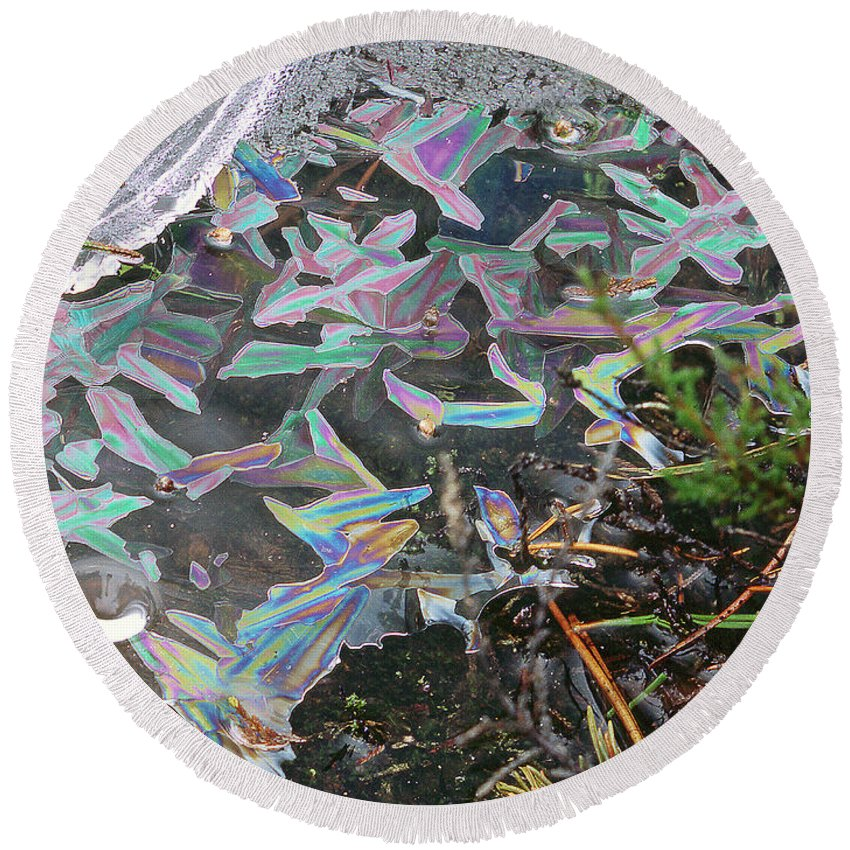 Round Beach Towel featuring the photograph 7. Ice Prismatics And Heather, Slaley Sand Quarry by Iain Duncan