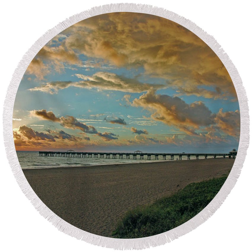 Round Beach Towel featuring the photograph 7- Juno Beach Pier by Joseph Keane