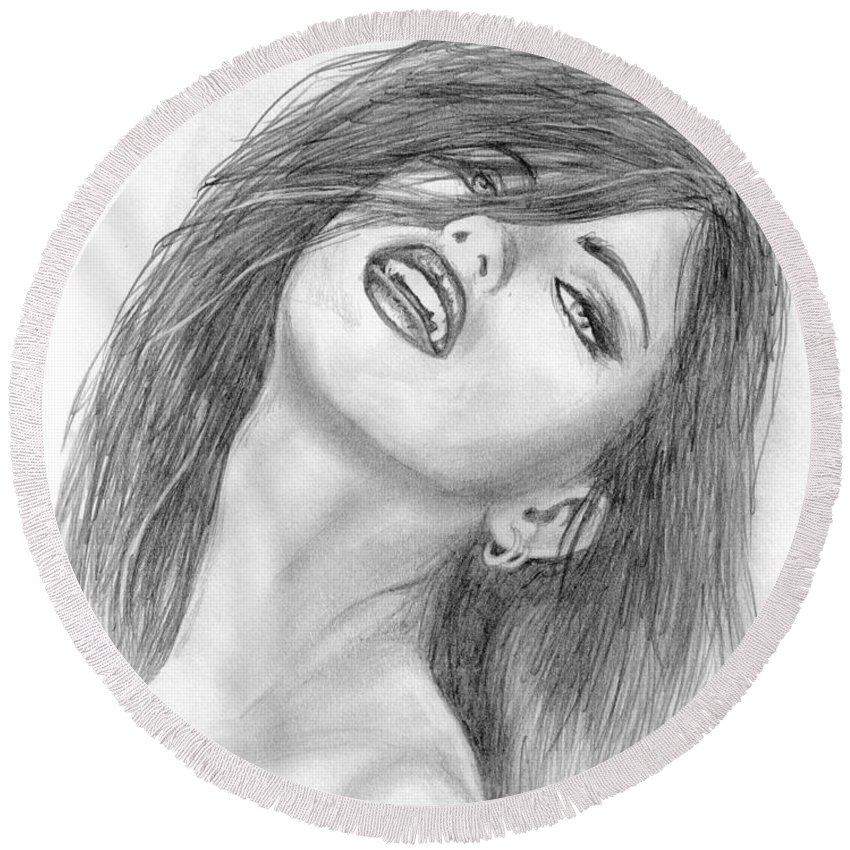 #adrianalima Round Beach Towel featuring the drawing Dracenya by Kristopher VonKaufman