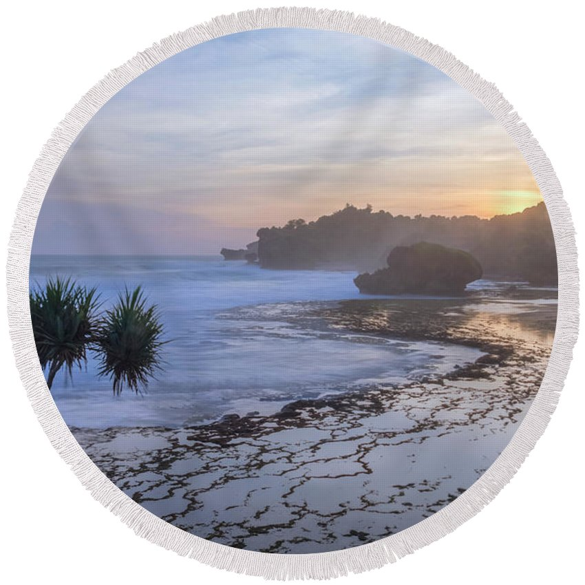 Kukup Beach Round Beach Towel featuring the photograph Kukup Beach - Java by Joana Kruse