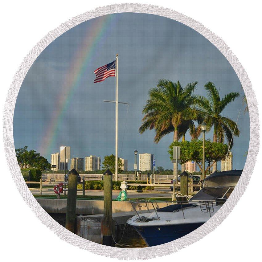 Lake Park Marina Round Beach Towel featuring the photograph 7- Lake Park Marina - Rainbow by Joseph Keane