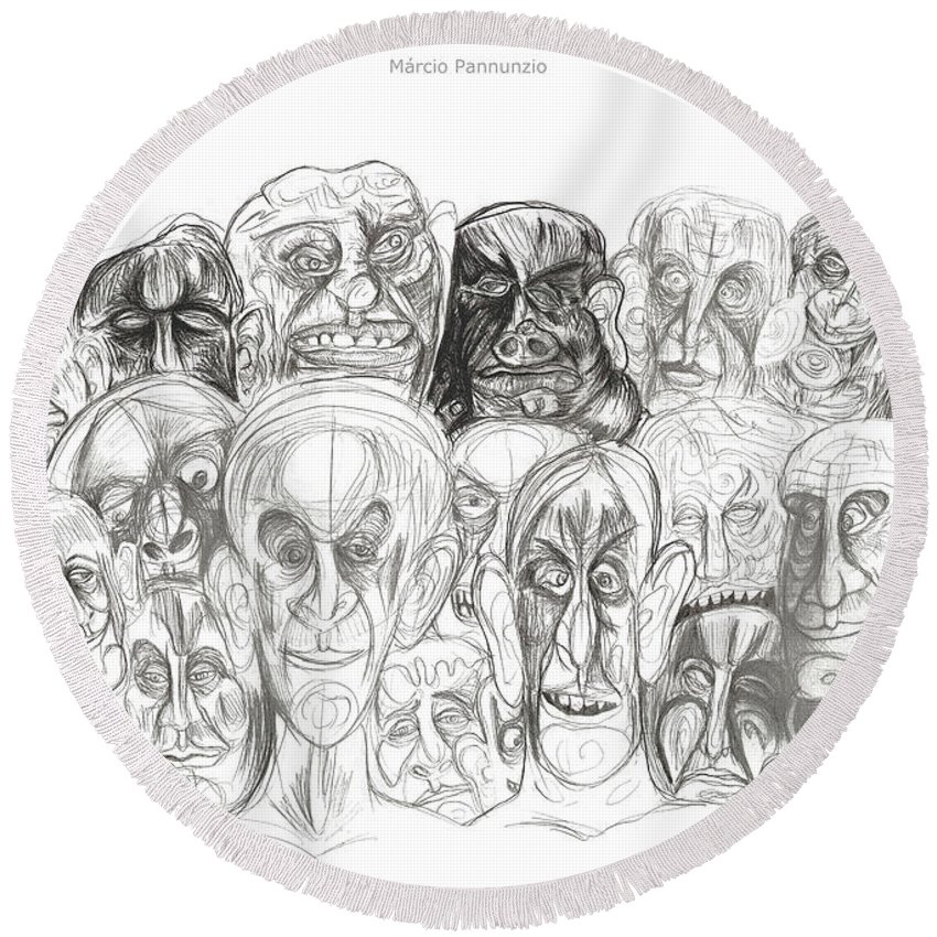 Marcio Pannunzio Round Beach Towel featuring the drawing Naughty Portraits by Marcio Pannunzio