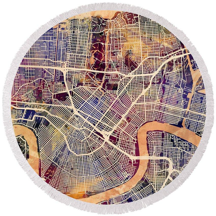 Street Map Round Beach Towel featuring the digital art New Orleans Street Map by Michael Tompsett