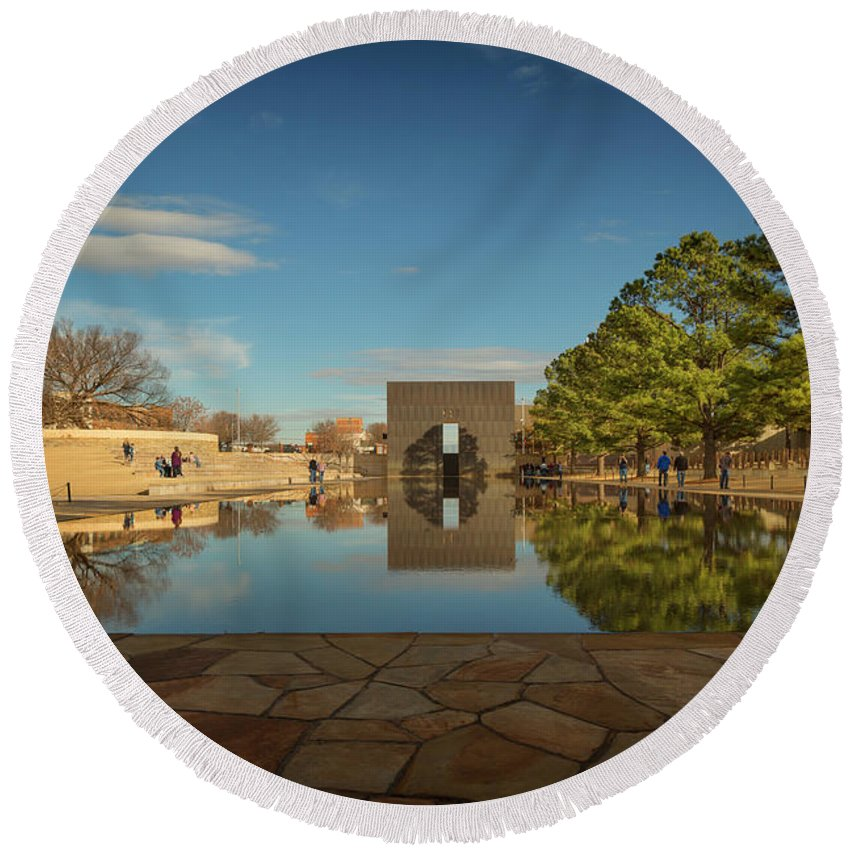 Bombing Round Beach Towel featuring the photograph Okc Memorial Xvii by Ricky Barnard
