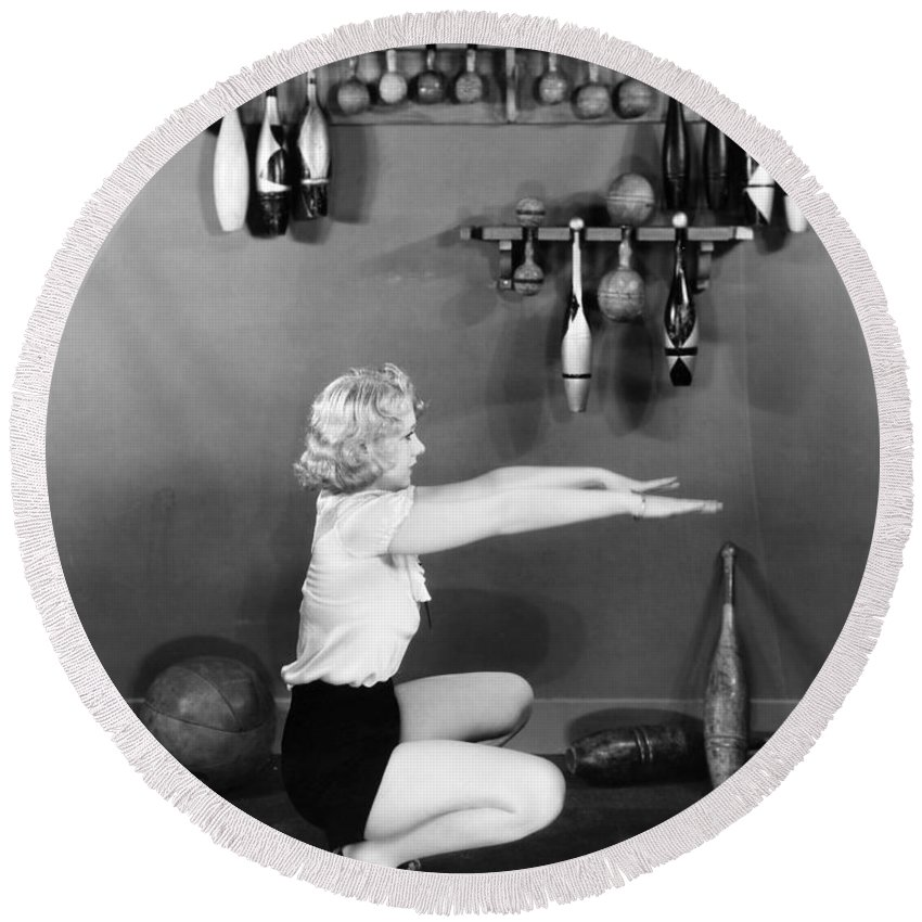 -weight & Exercise- Round Beach Towel featuring the photograph Silent Still: Exercise by Granger