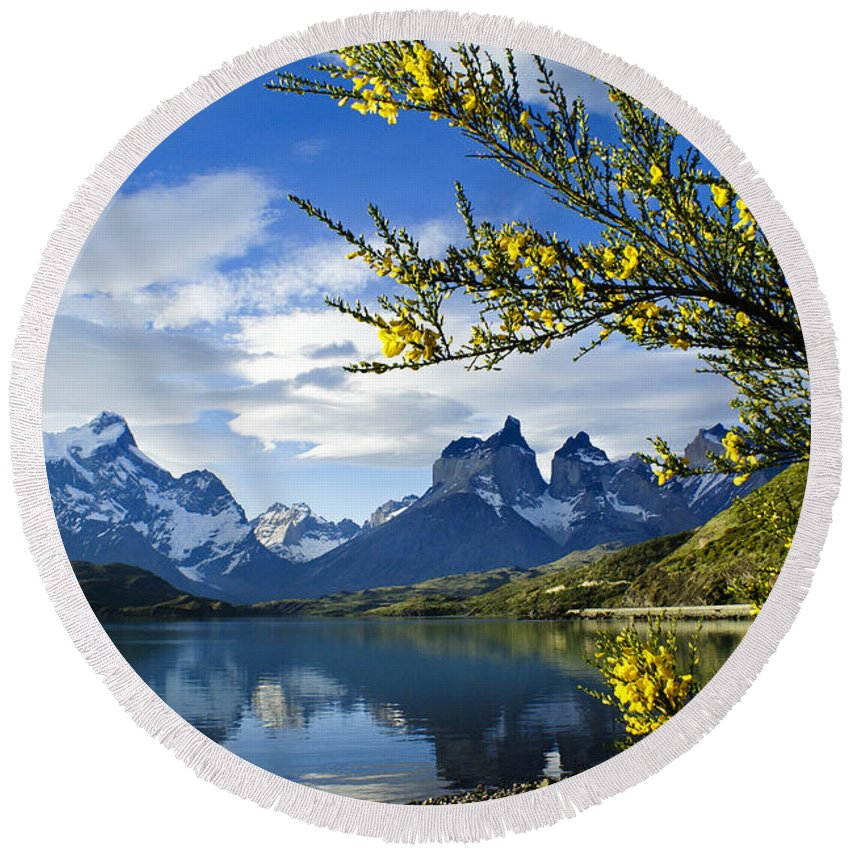 Patagonia Round Beach Towel featuring the photograph Springtime in Torres del Paine by Michele Burgess