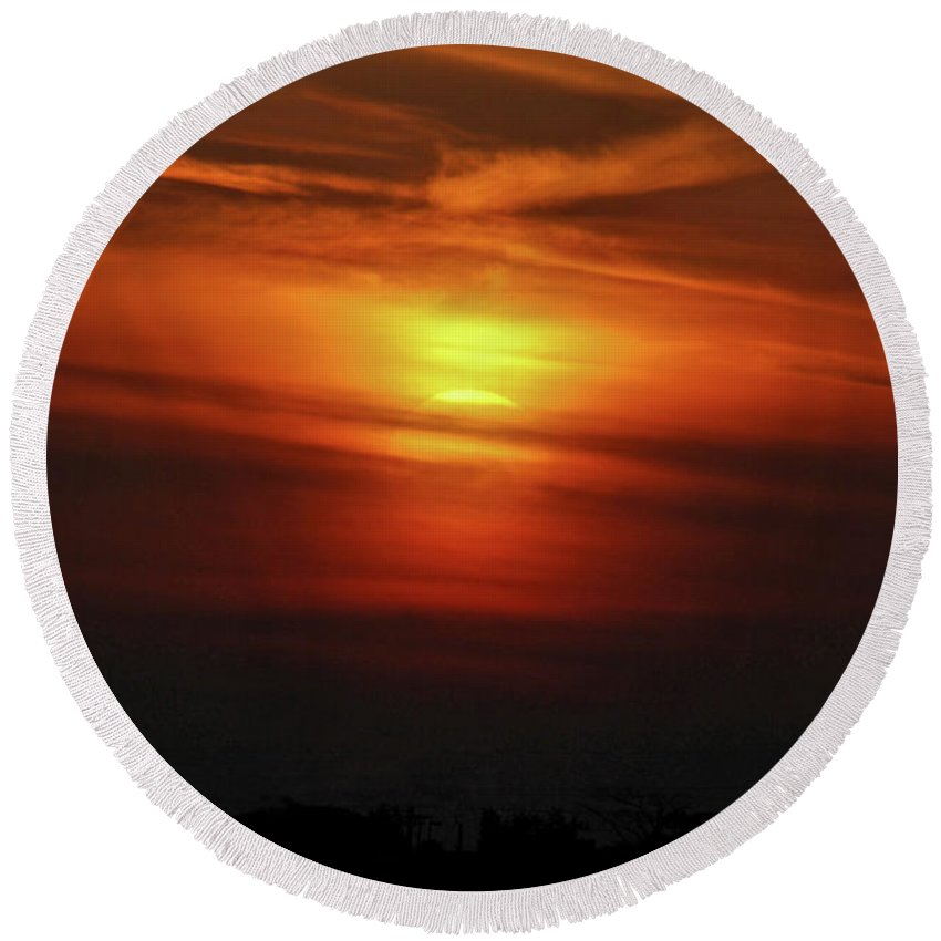 Sunset Round Beach Towel featuring the photograph 7- Sunset by Joseph Keane