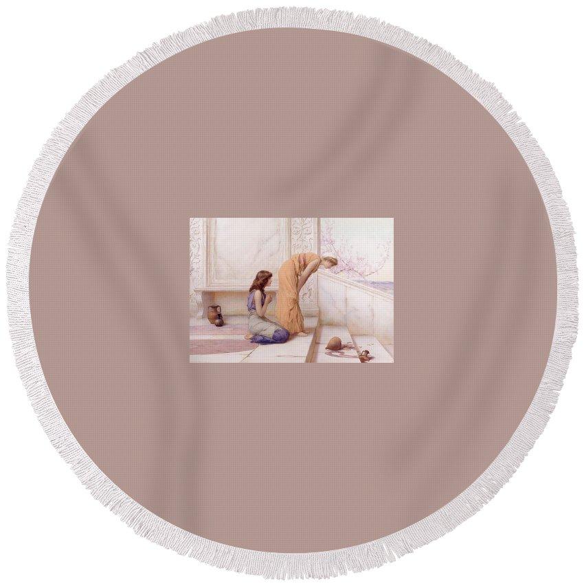 Attractive Round Beach Towel featuring the digital art The Broken Pot Henry Ryland by Eloisa Mannion