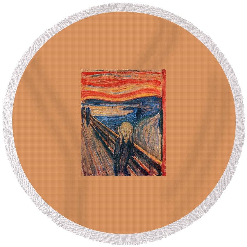 Fabric Round Beach Towel featuring the digital art The Scream Ver 1893 Edvard Munch by Eloisa Mannion