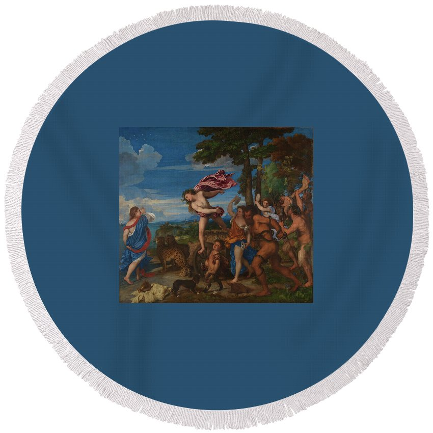 Bacchus And Ariadne 1520-3 Round Beach Towel featuring the painting Titian by MotionAge Designs