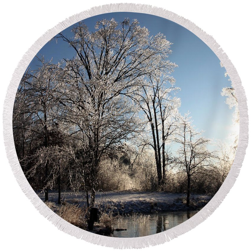 Trees Round Beach Towel featuring the photograph Trees In Ice Series by Amanda Barcon