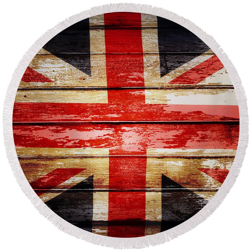 Boards Round Beach Towel featuring the photograph Union Jack Flag by Les Cunliffe