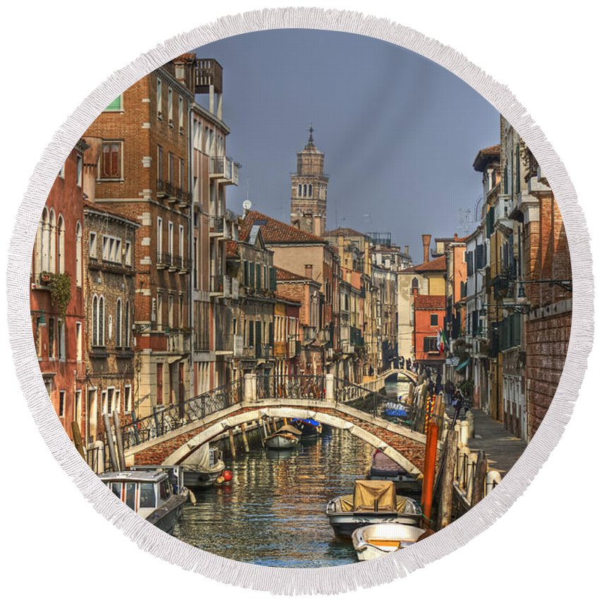 Architecture Round Beach Towel featuring the photograph Venice - Italy by Joana Kruse