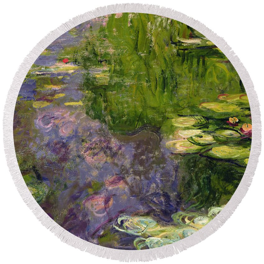 Nympheas; Water; Lily; Waterlily; Impressionist; Green; Purple Round Beach Towel featuring the painting Waterlilies 7 by Claude Monet
