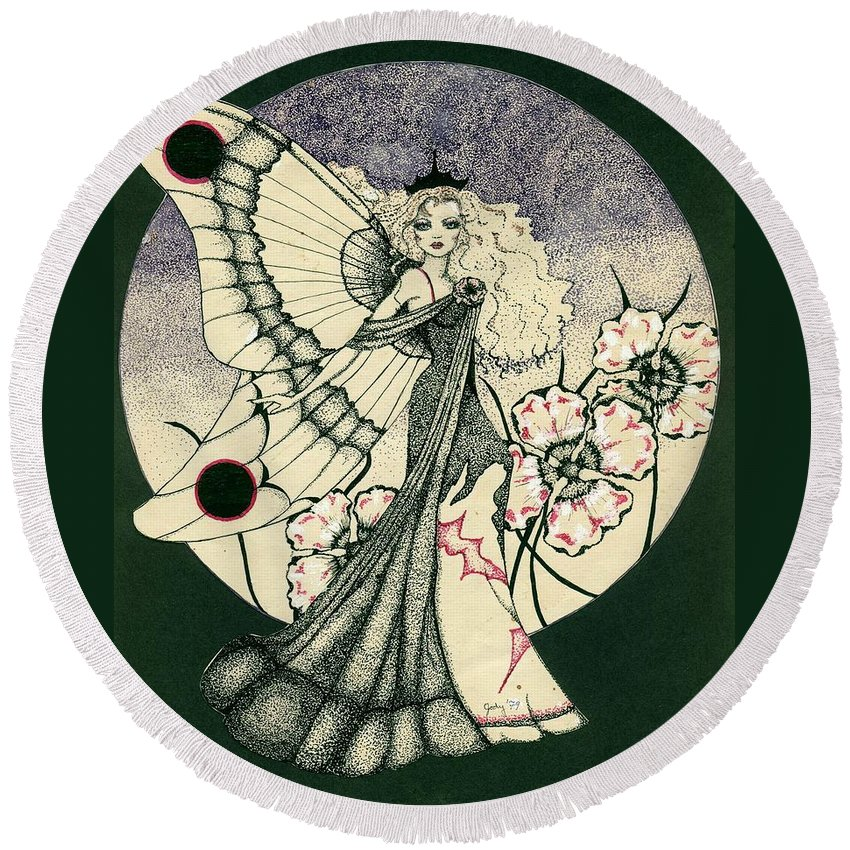 70's Style Round Beach Towel featuring the drawing 70's Angel by V Boge