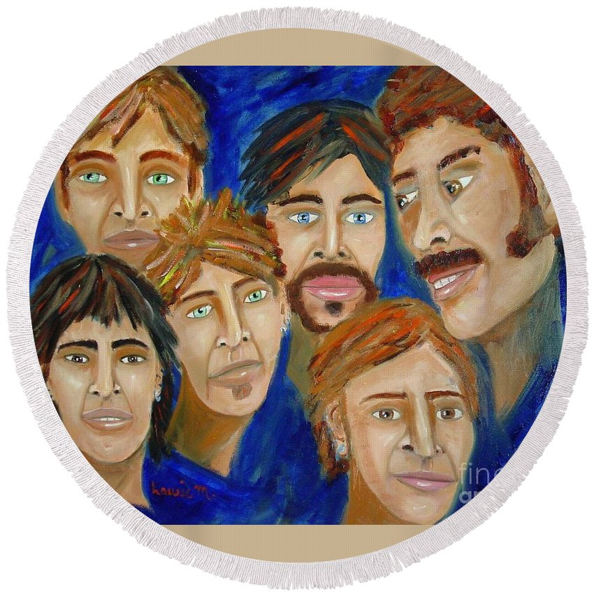 Portrait Round Beach Towel featuring the painting 70s Band Reunion by Laurie Morgan