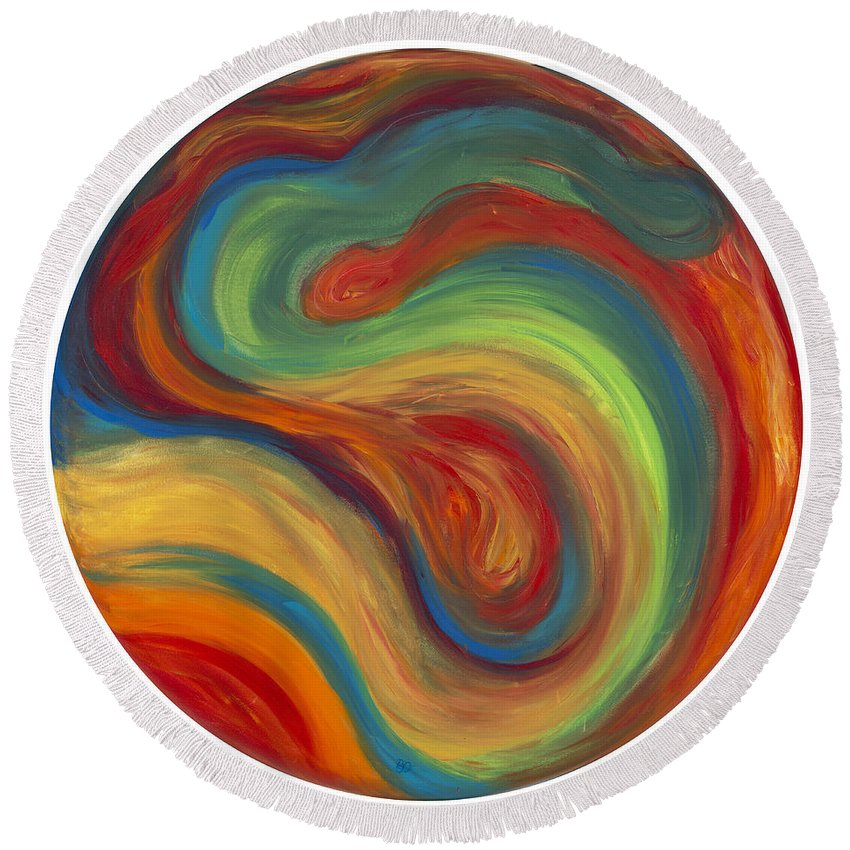Acrylic Abstract Canvas Round Beach Towel featuring the painting 70s Influence by Patty Vicknair
