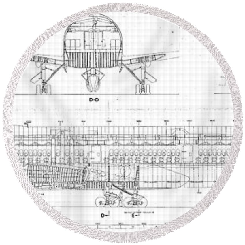 Round Beach Towel featuring the drawing 747 by Bruno Monte