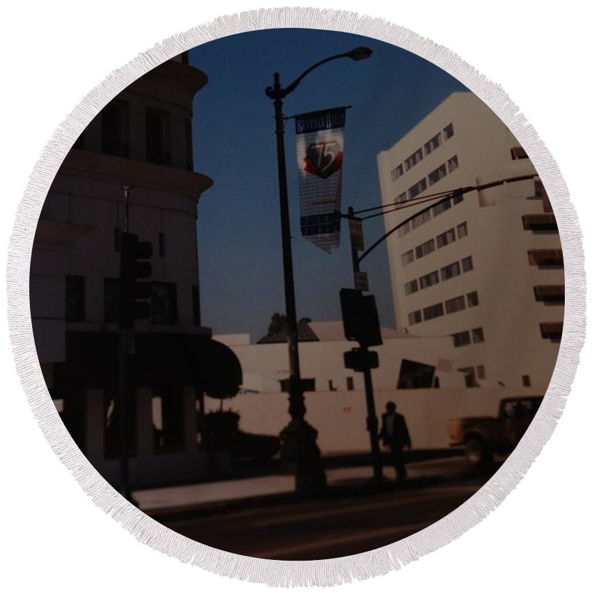 Hollywood California Round Beach Towel featuring the photograph 75th Hollywood by Rob Hans