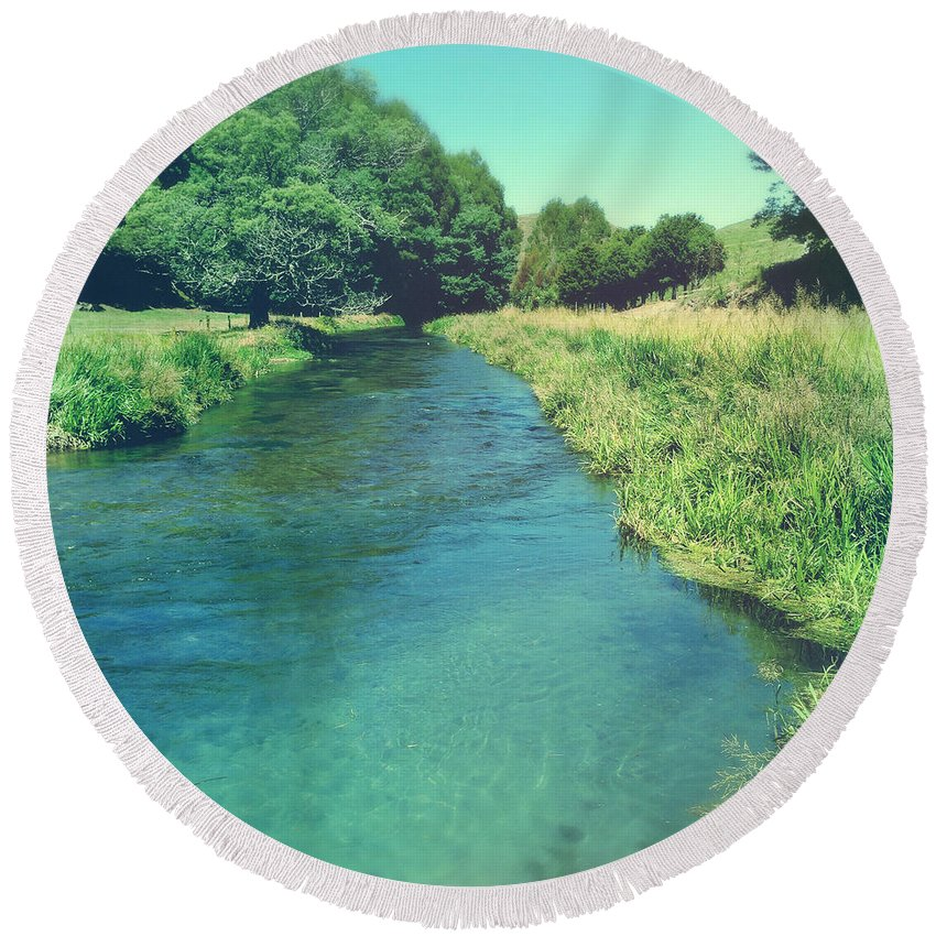 Blue Round Beach Towel featuring the photograph Spring Water by Les Cunliffe