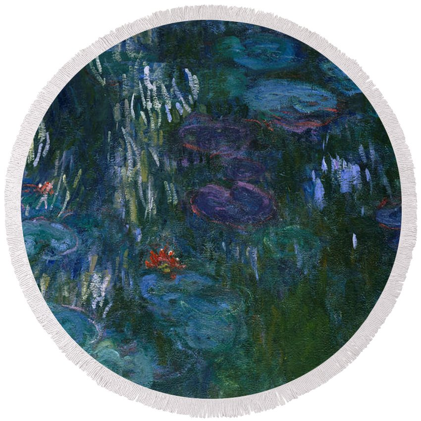 Monet Round Beach Towel featuring the painting Water Lilies by Claude Monet