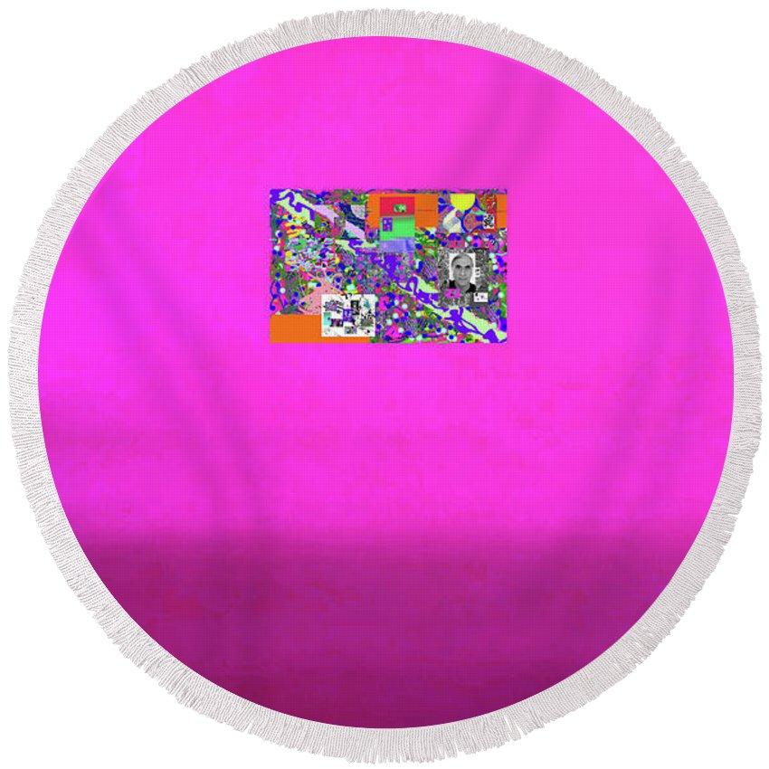 Walter Paul Bebirian Round Beach Towel featuring the digital art 8-25-2015abcd by Walter Paul Bebirian