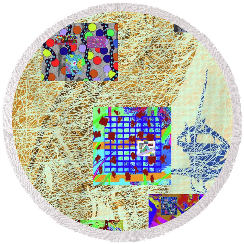 Walter Paul Bebirian Round Beach Towel featuring the digital art 8-27-2015babcdefgh by Walter Paul Bebirian