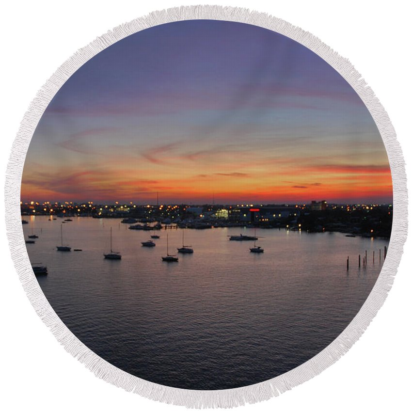 Sunset Round Beach Towel featuring the photograph 8- Ahhhhh by Joseph Keane