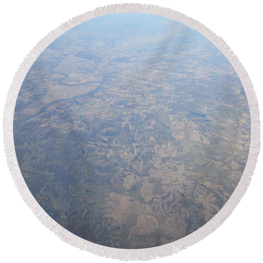 An Round Beach Towel featuring the photograph An Aerial View Of Ohio by Frederick Holiday