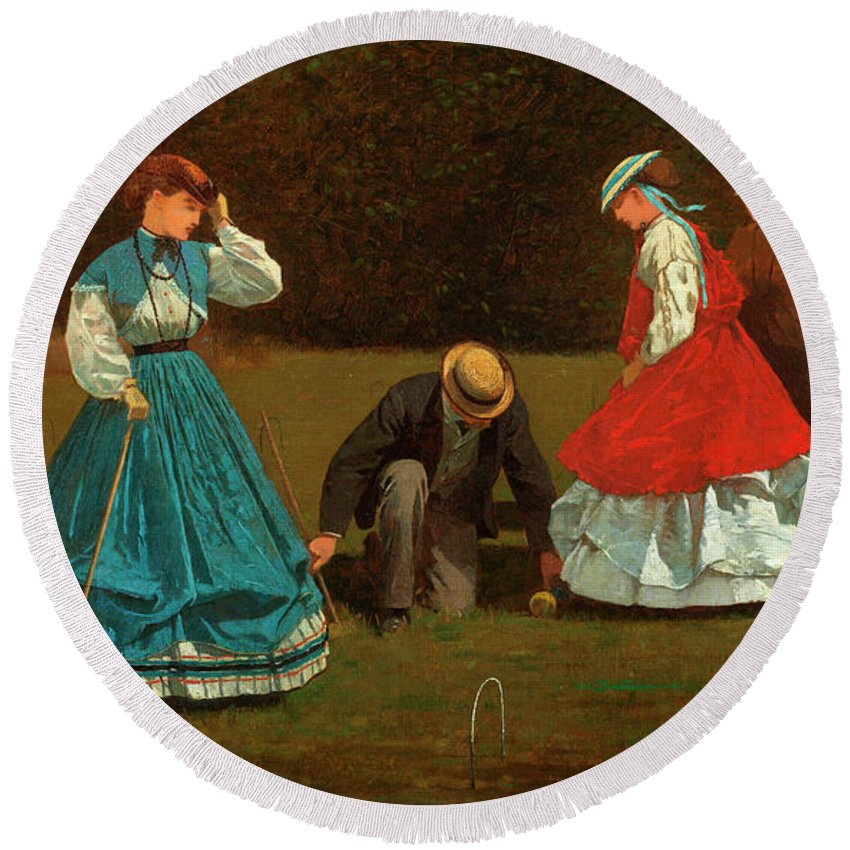 Croquet Scene Round Beach Towel featuring the painting Croquet Scene by Winslow Homer
