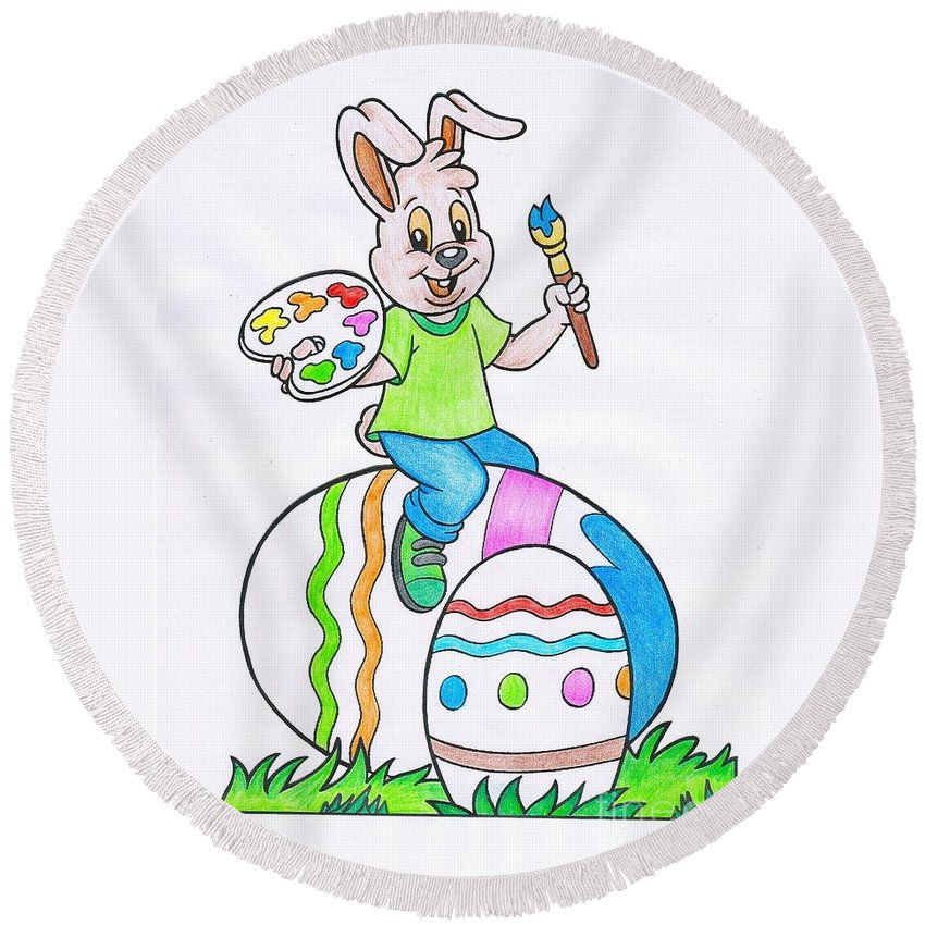 Witchcraft Round Beach Towel featuring the digital art Easter by Frederick Holiday