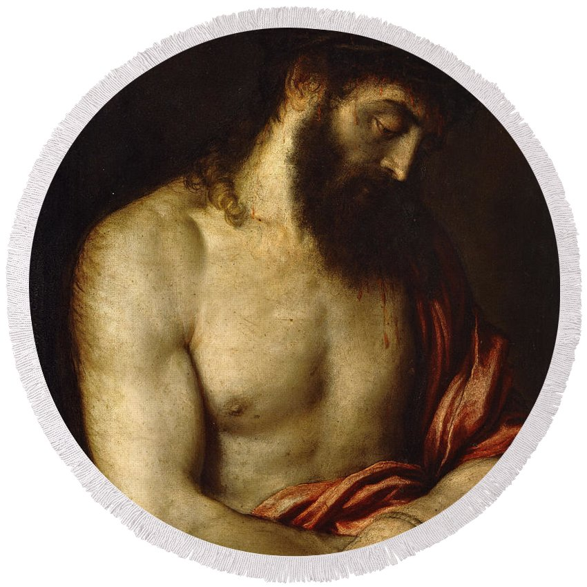 Christ Round Beach Towel featuring the painting Ecce Homo by Titian