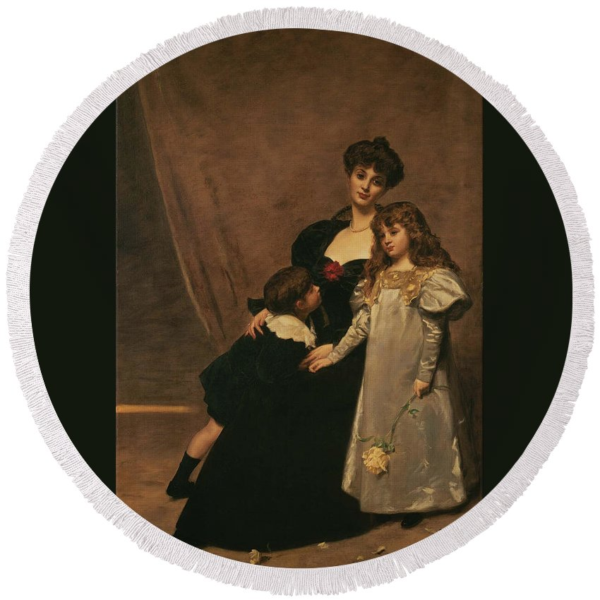 Émile-auguste Carolus-duran (1838 - 1917) Round Beach Towel featuring the painting Family by MotionAge Designs