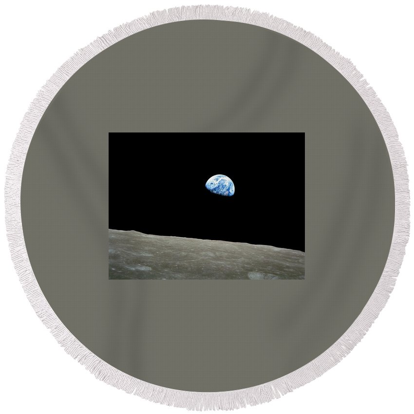 From Space Round Beach Towel featuring the digital art From Space by Mery Moon