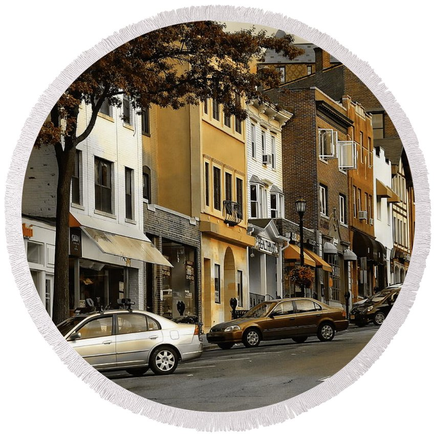 Ct Round Beach Towel featuring the photograph Greenwich Avenue by Anthony Dezenzio