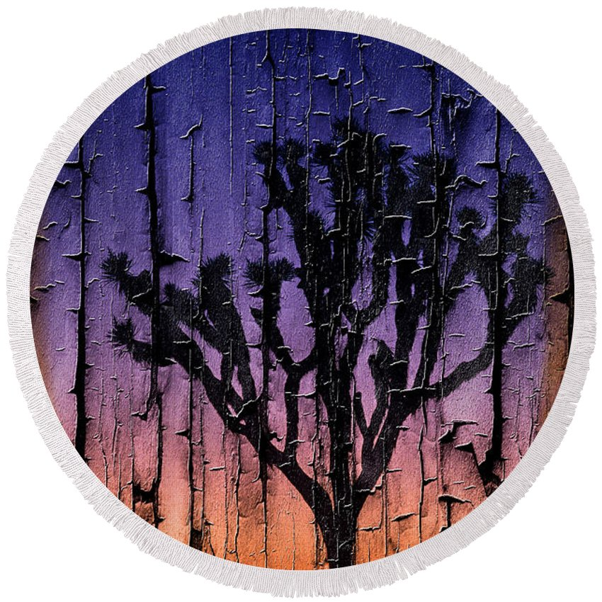 Nature Round Beach Towel featuring the photograph Joshua Tree With Special Effects by Jim Corwin