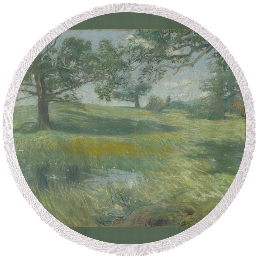 Frederick Childe Hassam (american Round Beach Towel featuring the painting Meadows by Frederick Childe
