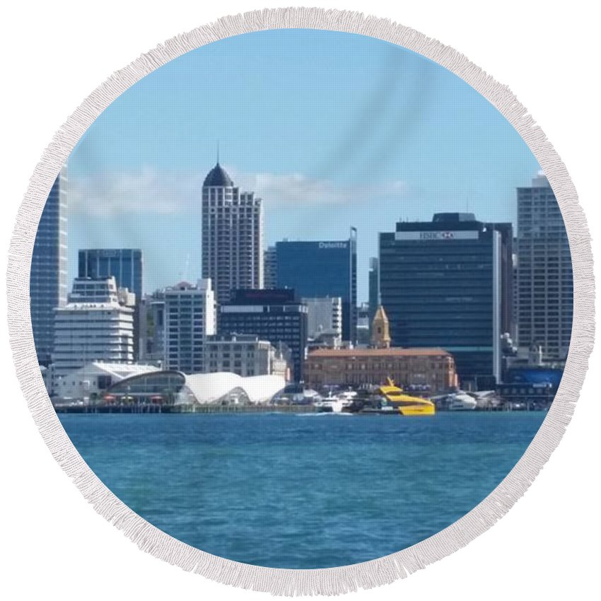 New Zealand Round Beach Towel featuring the photograph New Zealand - The Sea Heart Of Auckland by Jeffrey Shaw